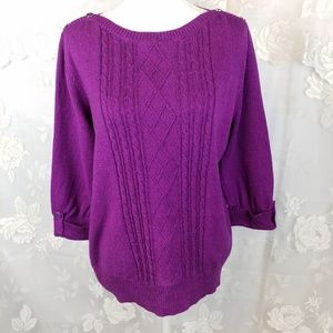 Studio Works purple cable knit XL sweater